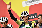 Isaac Canton Serrano (ESP) Kometa Cycling Team wearing the mountains Maglia Verde Pistacchio at sign on before the start of Stage 3 of Il Giro di Sicilia running 186km from Caltanissetta to Ragusa, Italy. 5th April 2019.<br /> Picture: LaPresse/Fabio Ferrari | Cyclefile<br /> <br /> <br /> All photos usage must carry mandatory copyright credit (&copy; Cyclefile | LaPresse/Fabio Ferrari)
