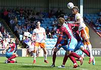 Blackpool's Armand Gnanduillet aims a header towards goal<br /> <br /> Photographer David Shipman/CameraSport<br /> <br /> The EFL Sky Bet League One - Scunthorpe United v Blackpool - Friday 19th April 2019 - Glanford Park - Scunthorpe<br /> <br /> World Copyright © 2019 CameraSport. All rights reserved. 43 Linden Ave. Countesthorpe. Leicester. England. LE8 5PG - Tel: +44 (0) 116 277 4147 - admin@camerasport.com - www.camerasport.com