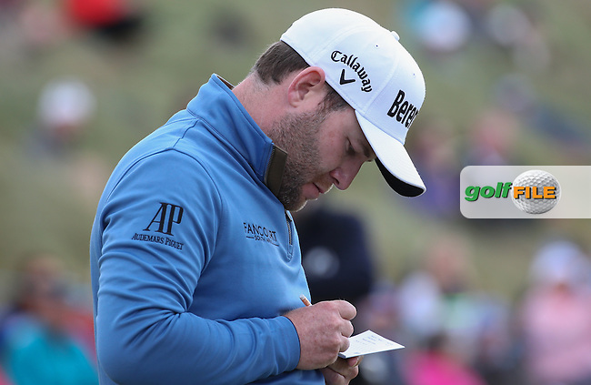 Branden Grace (RSA) adds up a 67 for T2 during Round Two of the 2016 Aberdeen Asset Management Scottish Open, played at Castle Stuart Golf Club, Inverness, Scotland. 08/07/2016. Picture: David Lloyd | Golffile.<br /> <br /> All photos usage must carry mandatory copyright credit (&copy; Golffile | David Lloyd)