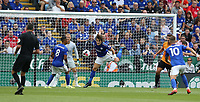 Leicester City's Caglar Soyuncu clears of the goal line <br /> <br /> <br /> <br /> Photographer Stephen White/CameraSport<br /> <br /> The Premier League - Leicester City v Wolverhampton Wanderers - Sunday 11th August 2019 - King Power Stadium - Leicester<br /> <br /> World Copyright © 2019 CameraSport. All rights reserved. 43 Linden Ave. Countesthorpe. Leicester. England. LE8 5PG - Tel: +44 (0) 116 277 4147 - admin@camerasport.com - www.camerasport.com