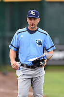 Charlotte Stone Crabs manager Michael Johns (9) before a game against the Bradenton Marauders on April 20, 2015 at McKechnie Field in Bradenton, Florida.  Charlotte defeated Bradenton 6-2.  (Mike Janes/Four Seam Images)