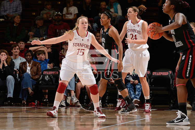 STANFORD, CA - NOVEMBER 26: Lindy La Rocque of Stanford women's basketball on defense in a game against South Carolina on November 26, 2010 at Maples Pavilion in Stanford, California.  Stanford topped South Carolina, 70-32.