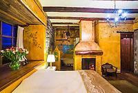 Bedroom at the Inca Hacienda San Agustin de Callo, luxury boutique hotel near Cotopaxi National Park, Ecuador, South America