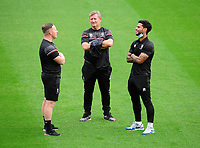 Lincoln City's Liam Bridcutt, right, speaks to Lincoln City's first team development coach Richard O'Donnell, left, and Lincoln City's assistant manager David Kerslake<br /> <br /> Photographer Chris Vaughan/CameraSport<br /> <br /> Carabao Cup Second Round Northern Section - Bradford City v Lincoln City - Tuesday 15th September 2020 - Valley Parade - Bradford<br />  <br /> World Copyright © 2020 CameraSport. All rights reserved. 43 Linden Ave. Countesthorpe. Leicester. England. LE8 5PG - Tel: +44 (0) 116 277 4147 - admin@camerasport.com - www.camerasport.com