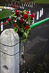 A commemorative bouquet on a crush barrier on the home terracing at The Oval, Belfast, pictured before Glentoran hosted city-rivals Cliftonville in an NIFL Premiership match. Glentoran, formed in 1892, have been based at The Oval since their formation and are historically one of Northern Ireland's 'big two' football clubs. They had an unprecendentally bad start to the 2016-17 league campaign, but came from behind to win this fixture 2-1, watched by a crowd of 1872.