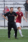 HOUSTON, TX - DECEMBER 11:  Head Coach Jeremy Gunn of Stanford University watches his teammate warm up before the Division I Men's Soccer Championship held at the BBVA Compass Stadium on December 11, 2016 in Houston, Texas.  Stanford defeated Wake Forest 1-0 in a penalty shootout for the national title. (Photo by Justin Tafoya/NCAA Photos via Getty Images)