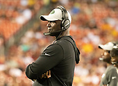 New York Jets head coach Todd Bowles watches second quarter action during the game against the Washington Redskins at FedEx Field in Landover, Maryland on Thursday, August 16, 2018.<br /> Credit: Ron Sachs / CNP<br /> (RESTRICTION: NO New York or New Jersey Newspapers or newspapers within a 75 mile radius of New York City)