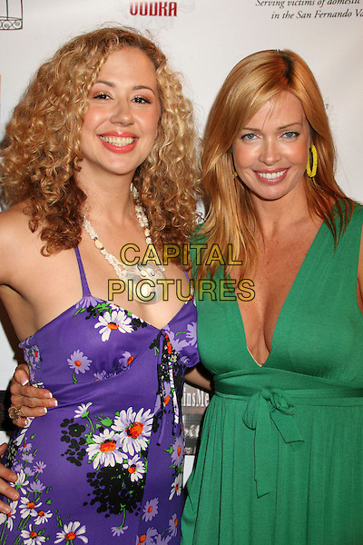 "JEANETTE CHIVVIS & KELLEY WEST.""Hats Off For Cancer"" Benefit Party at Sugar Boutique, Hollywood, California, USA..May 9th, 2007.half length purple green white floral print dress shell necklace  .CAP/ADM/BP.©Byron Purvis/AdMedia/Capital Pictures"