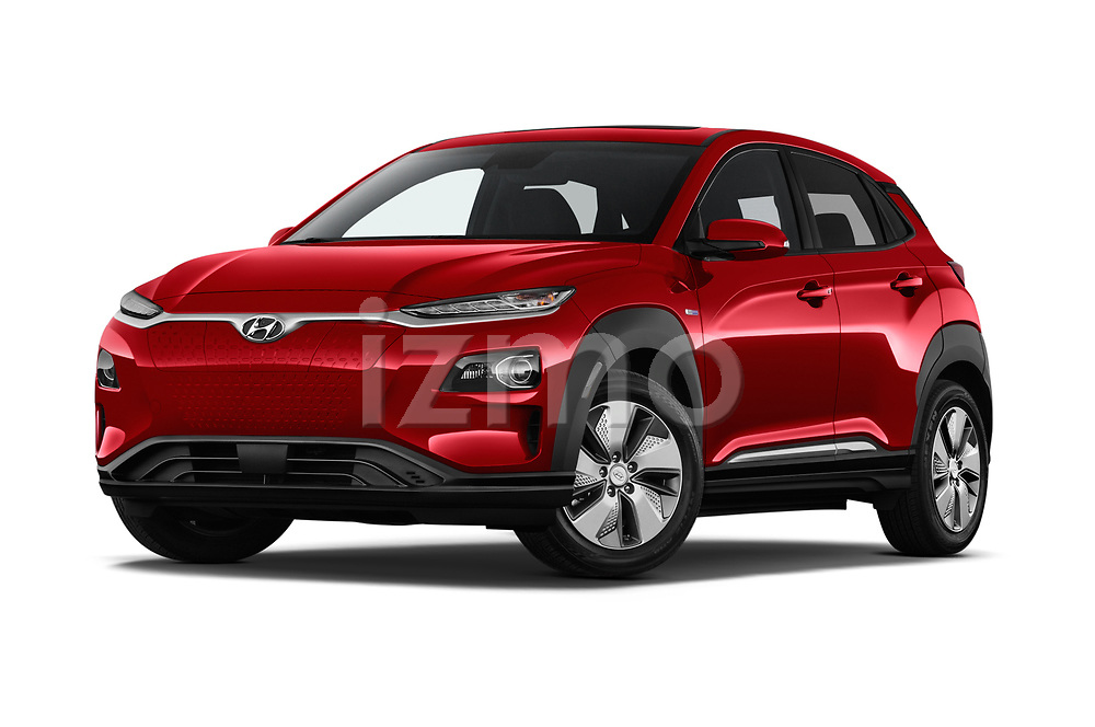 Stock pictures of low aggressive front three quarter view of a 2019 Hyundai Kona EV Creative 5 Door SUV