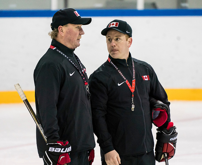 PyeongChang 8/3/2018 - Head Coach Ken Babey, of Saskatoon, SK, and assistant coach Luke Pierce, of Cranbrook, BC, as Canada's sledge hockey team practices ahead of the start of competition at the Gangneung practice venue during the 2018 Winter Paralympic Games in Pyeongchang, Korea. Photo: Dave Holland/Canadian Paralympic Committee