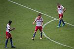 12.05.2018, Volksparkstadion, Hamburg, GER, 1.FBL. Hamburger SV vs Borussia Moenchengladbach,  im Bild   <br /> entt&auml;uscht / enttaeuscht / traurig / Niederlage<br />  Matti Steinmann (Hamburger SV #29)<br /> Kyriakos Papadopoulos (Hamburger SV #09)<br /> Sejad Salihovic (Hamburger SV #23)<br /> <br /> <br /> Foto &copy; nordphoto / Kokenge