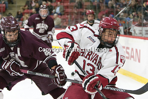 Kevin Lough (Colgate - 4), Greg Gozzo (Harvard - 13) - The Harvard University Crimson defeated the visiting Colgate University Raiders 7-4 (EN) on Saturday, February 20, 2016, at Bright-Landry Hockey Center in Boston, Massachusetts,