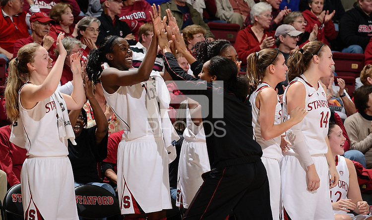 STANFORD, CA - DECEMBER 28: Stanford women's basketball celebrates near the end of the game against Xavier on December 28, 2010 at Maples Pavilion in Stanford, California.  Stanford topped Xavier, 89-52.