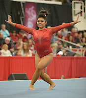 NWA Democrat-Gazette/ANDY SHUPE<br />Arkansas' Jessica Yamzon competes Friday, Jan. 12, 2018, in the floor portion of the 11th-ranked Razorbacks' meet with sixth-ranked Kentucky in Barnhill Arena in Fayetteville. Visit nwadg.com/photos to see more photographs from the meet.