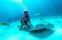 Diver and Stingray, Grand Cayman