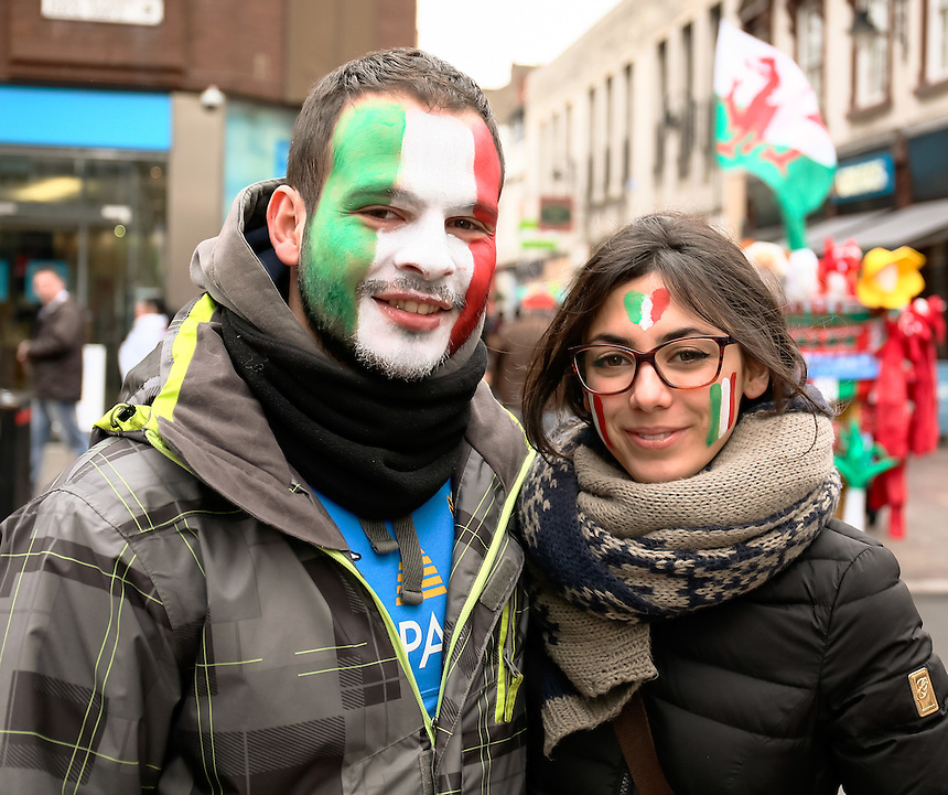 Italy fans enjoy the pre match atmosphere<br /> <br /> Photographer Simon King/CameraSport<br /> <br /> International Rugby Union - RBS 6 Nations Championships 2016 - Wales v Italy - Saturday 19th March 2016 - Principality Stadium, Cardiff <br /> <br /> &copy; CameraSport - 43 Linden Ave. Countesthorpe. Leicester. England. LE8 5PG - Tel: +44 (0) 116 277 4147 - admin@camerasport.com - www.camerasport.com