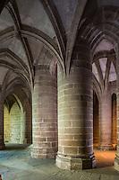 France, Manche (50), Baie du Mont-Saint-Michel, classée Patrimoine Mondial de l'UNESCO, le Mont-Saint-Michel, l'abbaye, crypte des Gros Piliers // France, Manche, Bay of Mont Saint Michel, listed as World Heritage by UNESCO, Mont Saint Michel, the Abbey, crypt of the Big Pillars