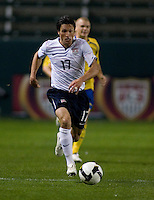 The United States John Thorrington (17) dribbles the ball upfield during a  friendly match against Sweden.  USA Men's National team beat the Sweden 3-2  at the Home Depot Center in Carson, Calif on Saturday, January 24, 2009.
