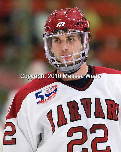 David Valek (Harvard - 22) - The visiting Merrimack College Warriors defeated the Harvard University Crimson 3-1 (EN) at Bright Hockey Center on Tuesday, November 30, 2010.