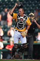 Bradenton Marauders catcher Jacob Stallings (32) backs up a play during a game against the Palm Beach Cardinals on June 23, 2014 at McKechnie Field in Bradenton, Florida.  Bradenton defeated Palm Beach 11-6.  (Mike Janes/Four Seam Images)