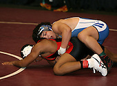 Jules Doliscar and Keith Corley wrestle at the 160 weight class during the NY State Wrestling Championships at Blue Cross Arena on March 8, 2008 in Rochester, New York.  (Copyright Mike Janes Photography)