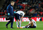 Mousa Dembele of Tottenham sits down injured during the premier league match at Wembley Stadium, London. Picture date 30th April 2018. Picture credit should read: David Klein/Sportimage