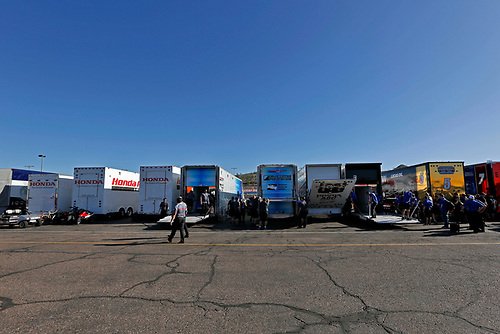 26-27 February, 2016, Avondale, Arizona USA<br /> Honda transporters in the paddock waiting to unload<br /> ©2016, Phillip Abbott<br /> LAT Photographic