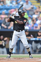 West Virginia Power third baseman Ke'Bryan Hayes (22) awaits a pitch during a game against the Asheville Tourists at McCormick Field on June 24, 2016 in Asheville, North Carolina. The Power defeated the Tourists 11-3. (Tony Farlow/Four Seam Images)