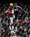 Peter Crouch of Stoke City vies for the ball with Abou Diaby of Arsenal during the  English Premier League soccer match between Arsenal and Stoke City in London,UK,02 February  2012.THOMAS CAMPEAN/Pixel8000 Ltd...