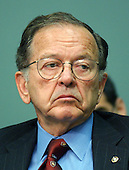 "Washington, D.C. - June 24, 2003 -- Ted Stevens (Republican of Alaska), United States Senate President Pro-Tempore listens to testimony before the United States Senate Commerce, Science, and Transportation Committee on ""Reform of the United States Olympic Committee (USOC) in Washington, DC on June 24, 2003.  Senator Stevens was indicted on Tuesday, July 29, 2008 on seven counts of failing to report as income gifts he received including renovations on his home. .Credit: Ron Sachs / CNP"