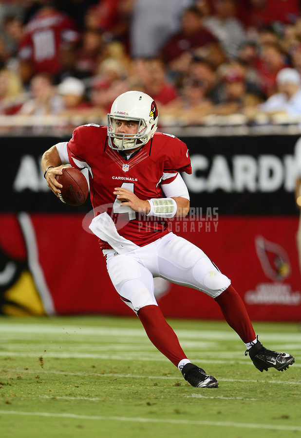 Aug. 17, 2012; Glendale, AZ, USA; Arizona Cardinals quarterback (4) Kevin Kolb in the second half against the Oakland Raiders during a preseason game at University of Phoenix Stadium. Mandatory Credit: Mark J. Rebilas-