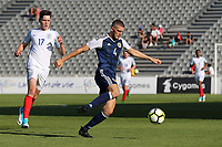 Alex Iacovitti of Scotland in possession as England's George Hirst looks on during England Under-18 vs Scotland Under-20, Toulon Tournament Semi-Final Football at Stade Parsemain on 8th June 2017