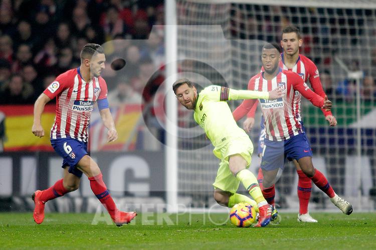 (L to R) Club Atletico de Madrid's Koke Resurreccion, Thomas Lemar, Lucas Hernandez and Futbol Club Barcelona's Leo Messi  during La Liga match. November 24,2018. (ALTERPHOTOS/Alconada)