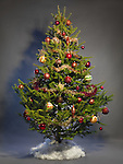 Decorated Christmas tree isolated on studio background