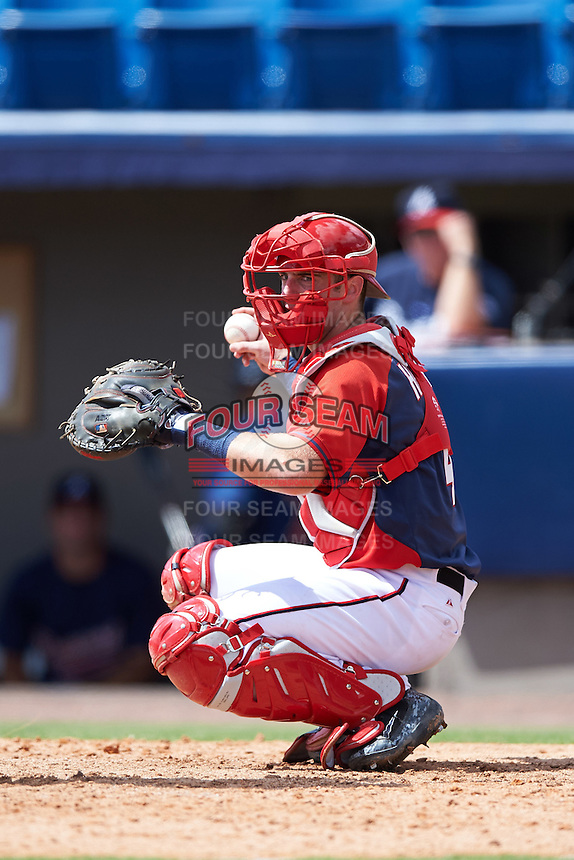 Washington Nationals catcher Joey Harris (4) during an Instructional League game against the Atlanta Braves on September 30, 2016 at Space Coast Stadium in Melbourne, Florida.  (Mike Janes/Four Seam Images)