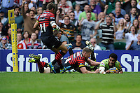 George Pisi of Northampton Saints goes over for a try during the Aviva Premiership Final between Saracens and Northampton Saints at Twickenham Stadium on Saturday 31st May 2014 (Photo by Rob Munro)