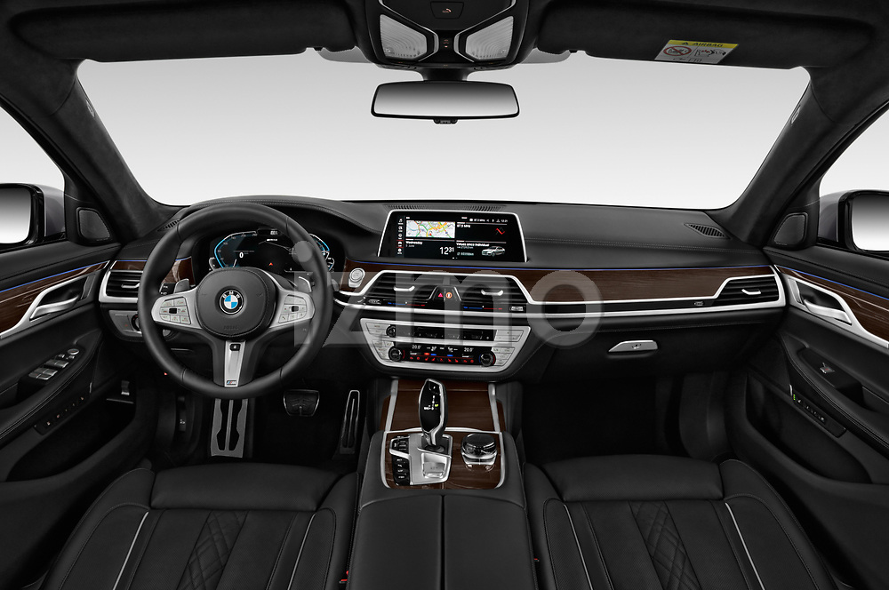Stock photo of straight dashboard view of a 2020 BMW 7-Series  M-Sport 4 Door Sedan