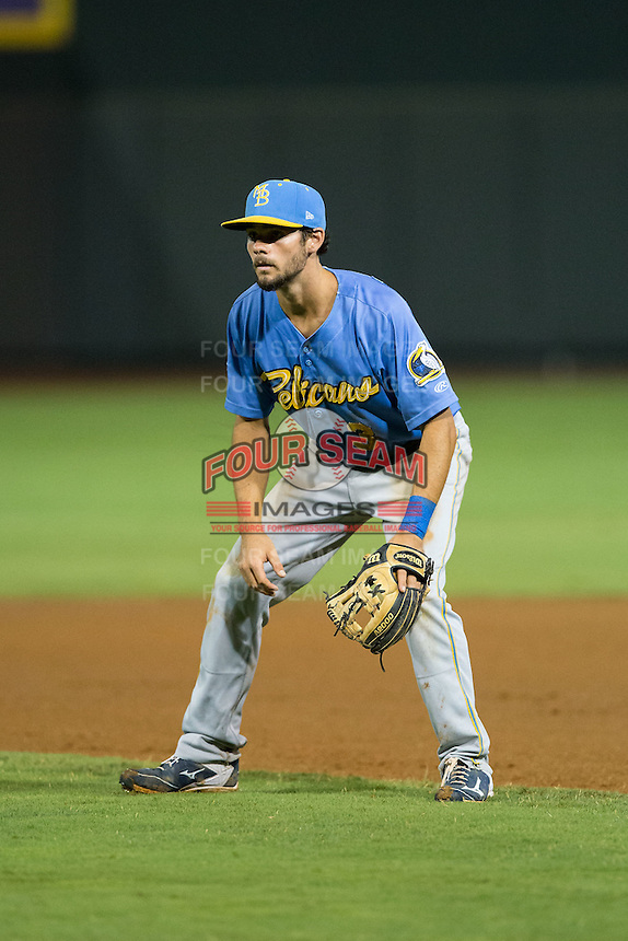 Myrtle Beach Pelicans second baseman Chesney Young (3) on defense against the Winston-Salem Dash at BB&T Ballpark on August 20, 2015 in Winston-Salem, North Carolina.  The Dash defeated the Pelicans 5-4 on a walk-off wild pitch in the bottom of the 9th inning.  (Brian Westerholt/Four Seam Images)