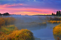 Dawn on Sppuce River wetland<br /> Prince Albert National Park<br /> Saskatchewan<br /> Canada