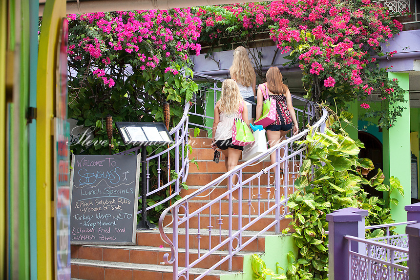 Girls shopping at Wharfside Village<br /> Cruz Bay, St. John<br /> U.S. Virgin Islands