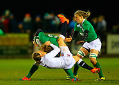 27.02.2015. Ashbourne Rugby Club, Ireland. Womens 6-Nations international. Ireland versus England. Hannah Gallagher ( England) tackles Jenny Murphy (Ireland).