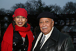Tamara Tunie (gala co-chair) introduced the honorees Tai Babilonia and Michelle Paige Patterson and poses with former Mayor David Dinkins at the 2009 Skating with the Stars - a benefit gala for Figure Skating in Harlem on April 6, 2009 at Wollman Rink, Central Park, NYC, NY. (Photo by  Sue Coflin/Max Photos)