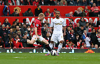 Pictured: (L-R) Paul Scholes, Wayne Routledge.<br /> Sunday 12 May 2013<br /> Re: Barclay's Premier League, Manchester City FC v Swansea City FC at the Old Trafford Stadium, Manchester.