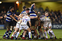 Matt Garvey of Bath Rugby celebrates a penalty from a strong scrum. Aviva Premiership match, between Bath Rugby and Exeter Chiefs on March 23, 2018 at the Recreation Ground in Bath, England. Photo by: Patrick Khachfe / Onside Images