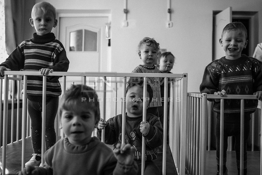 Children in orphanage near Vesnova, Belorussia. Reconstructed and sponsored by Irish-based NGO Chernobyl children international. Normally each Belorussian child living in an institution wth government support, such as an orphanage or mental asylum <br /> is allocated just €1 per day.