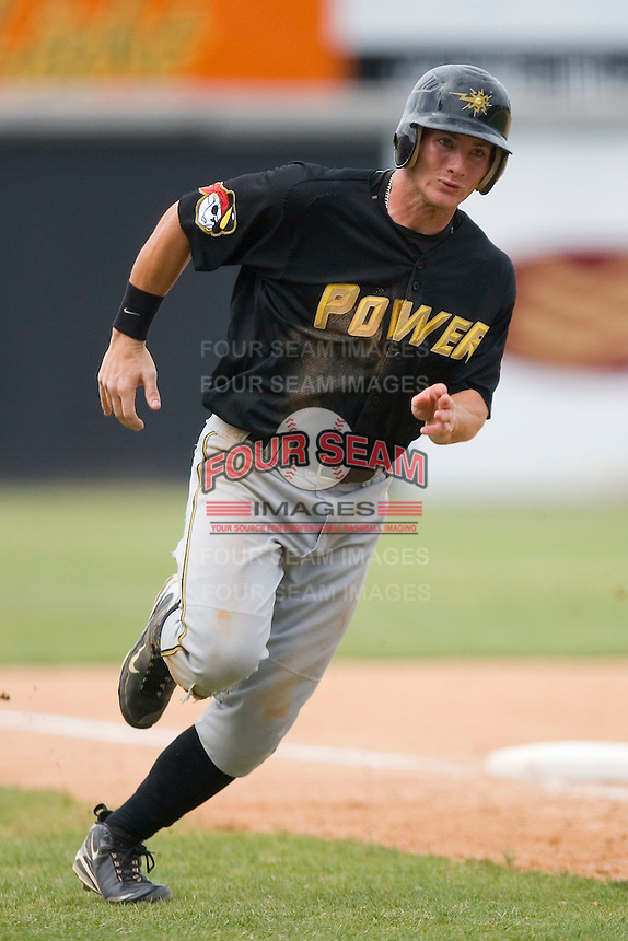 Robbie Grossman #36 of the West Virginia Power rounds third base to score a run at L.P. Frans Stadium June 21, 2009 in Hickory, North Carolina. (Photo by Brian Westerholt / Four Seam Images)