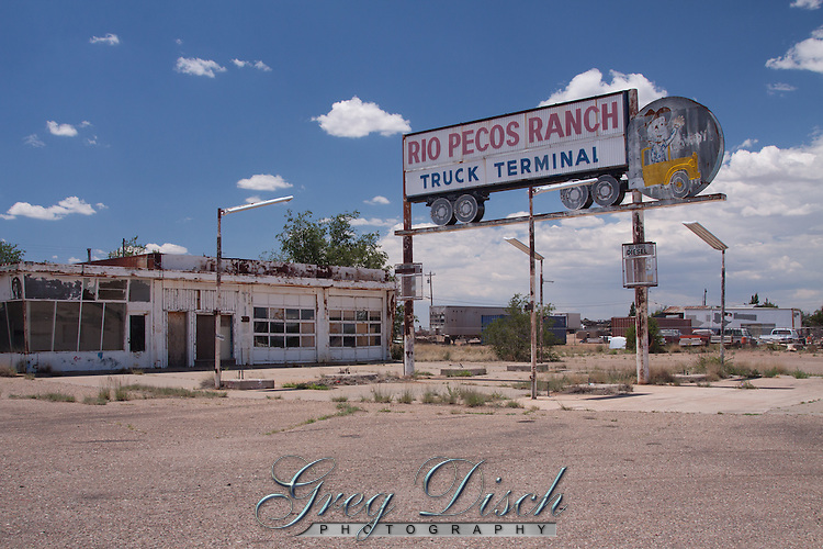 Old sign in santa Rosa, New Mexico on route 66. The Rio Pecos Ranch Truck Terminal opened around 1955. The truck's driver had an animated waving hand at one time.