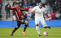 Joshua King of Bournemouth and Ashley Williams of Swansea City during the Barclays Premier League match between AFC Bournemouth and Swansea City played at The Vitality Stadium, Bournemouth on March 12th 2016