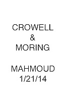 Crowell & Moring MAHMOUD 1/21/14