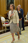 13.09.2012. Queen Sofia of Spain attends in audience a group of Fundación Félix Rodríguez de la Fuente and the Executive Committee of ´10th World Wilderness Congress´, chaired by Ms Marcelle Genevieve Parmentier Lepied in the Zarzuela Palace, Madrid. In the image Queen Sofia (Alterphotos/Marta Gonzalez)